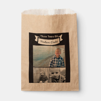 Your Photo Collage Rustic Banner Three Years Old Favour Bags