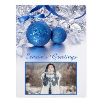 YOUR PHOTO custom text Christmas postcard