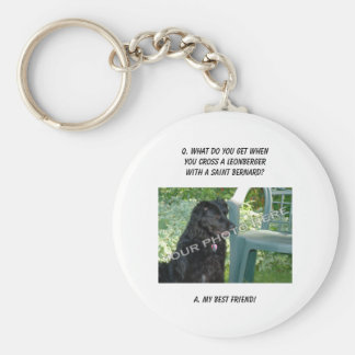 Your Photo Here! My Best Friend Leonberger Mix Basic Round Button Key Ring