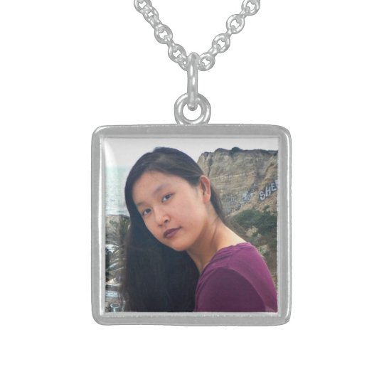 """Your photo here"" personalised photo chic, square Sterling Silver Necklace"