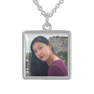 """""""Your photo here"""" personalized photo chic, square Sterling Silver Necklace"""