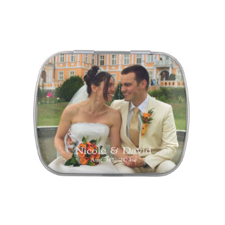 Your photo here personalized wedding favor jelly belly tin