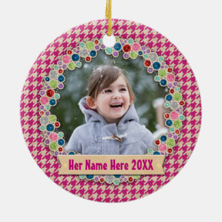 Your Photo Houndstooth Pattern Holiday Monogram Ceramic Ornament