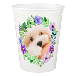 Your Photo in a Flower Frame paper cups