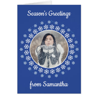 YOUR PHOTO in a Snowflake Frame custom card