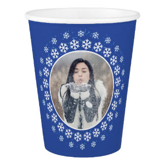 YOUR PHOTO in a Snowflake Frame custom text cups
