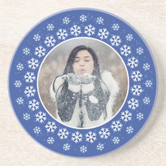 YOUR PHOTO in a Snowflake Frame sandstone coaster
