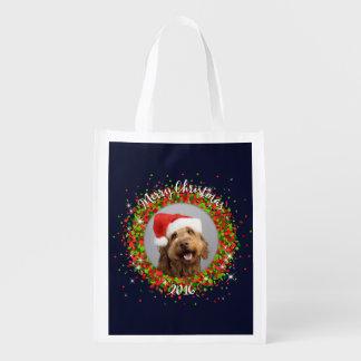 Your Photo Merry Christmas Reusable Grocery Bag