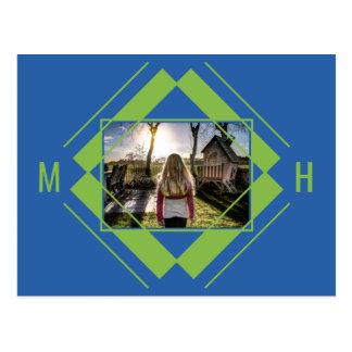 YOUR Photo & Monogram Geometric Pattern postcard