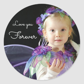 Your photo name | text: Love you forever Classic Round Sticker