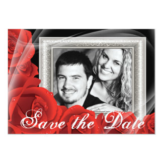 Your Photo Red Rose Wedding Save the Date Cards