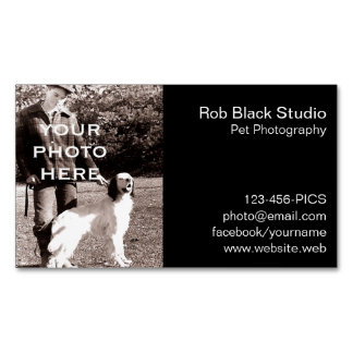 Your Photo Simple Black with White Text Magnetic Business Cards