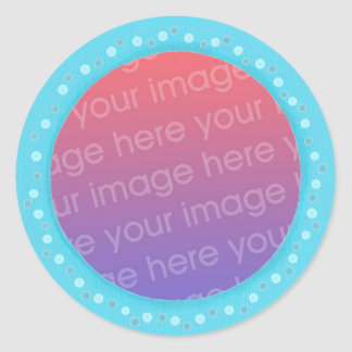 Your photo stickers, in a blue dots circle frame round sticker