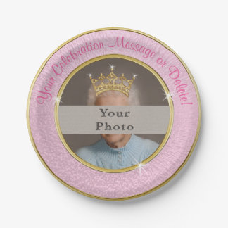 Your Photo, Text Pink and Gold Personalized Plates