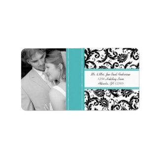 Your Photo Vintage Mint Green Damask Address Label