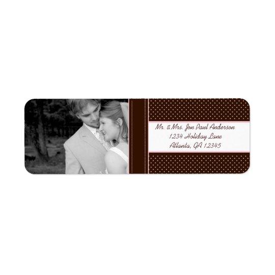 Your Photo Wedding Deep Brown & Pink Dots Return Address Label