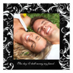 Your Photo Wedding Invitation Black Fancy Swirls