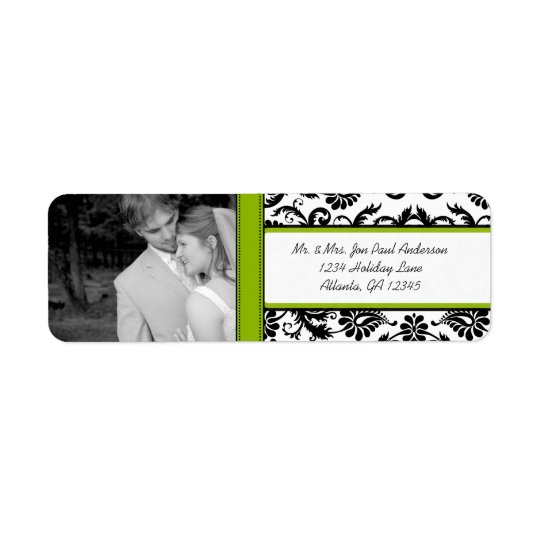 Your Photo Wedding Vintage Apple Green Damask Return Address Label