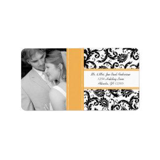 Your Photo Wedding Vintage BeesWax Damask Label