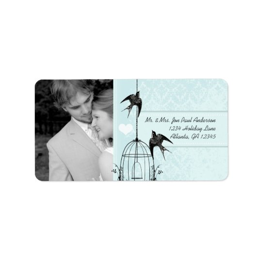 Your Photo Wedding Vintage Bird Cage Aqua Damask Address Label