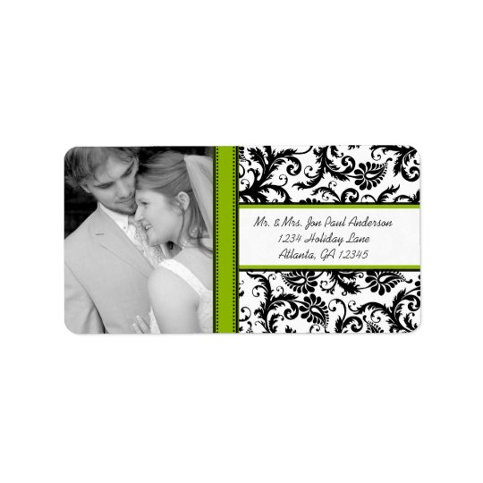 Your Photo Wedding Vintage Black Green Damask Label