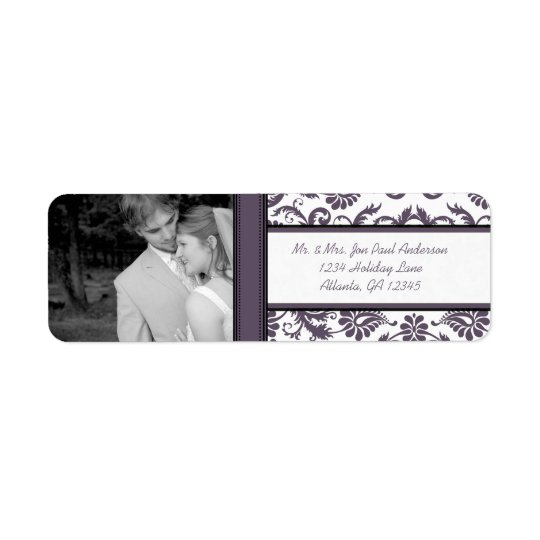 Your Photo Wedding Vintage Eggplant Damask Return Address Label