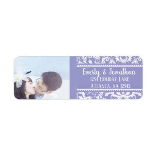 Your Photo Wedding Vintage Lilac Damask Return Address Label