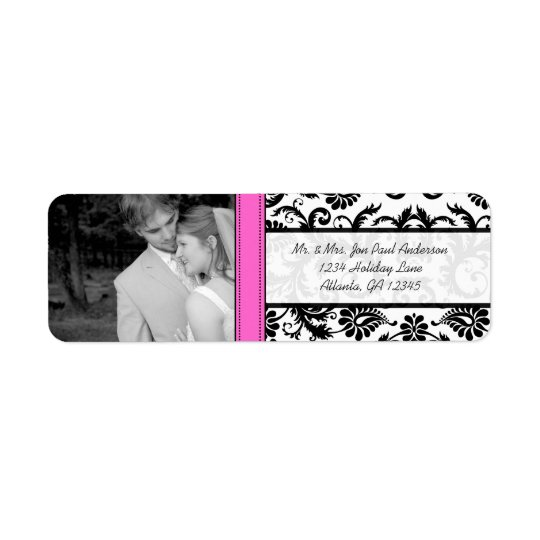 Your Photo Wedding Vintage Pink Damask Return Address Label