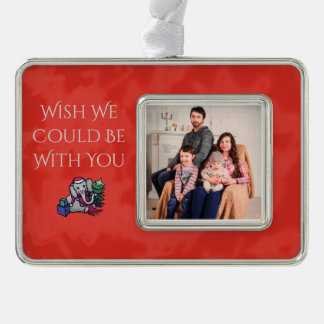 Your Photo Wish You Were Here Santa Xmas Elephants Silver Plated Framed Ornament