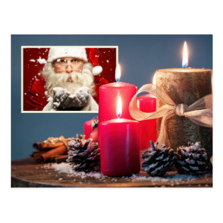 YOUR PHOTO with Candles custom Christmas postcard