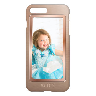 Your Photo with Rose Gold Picture Frame Monogram iPhone 7 Plus Case