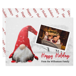 Your Photo With Snowy Gnome Happy Holidays Card