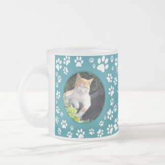 Your Photos Cat Memorial  Paw Prints Teal Frosted Glass Coffee Mug