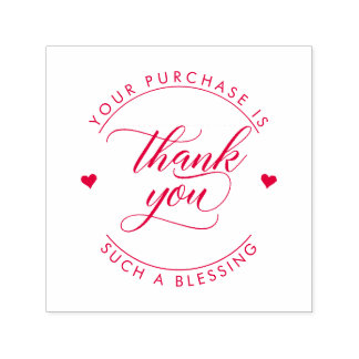 Your Purchase Is Such A Blessing | Red Thank You Self-inking Stamp
