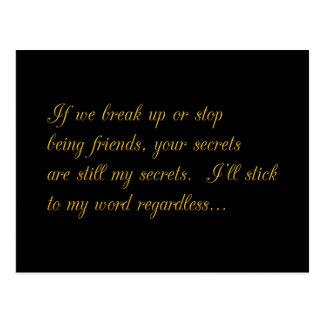 YOUR SECRETS ARE STILL MY SECRETS BREAKUP FRIENDSH POSTCARD