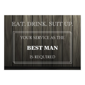 Your Service As The Best Man Is Required Wooden Card