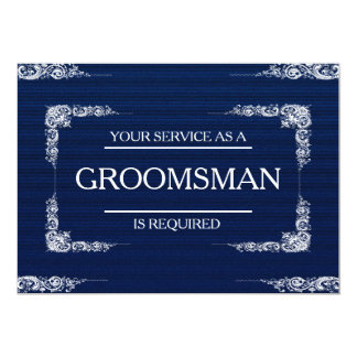 Your Service Is Requested as Groomsman  Blue Jeans Card