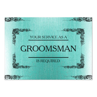 Your Service Is Requested as Groomsman Green Blur 13 Cm X 18 Cm Invitation Card