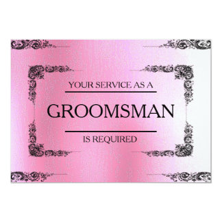 Your Service Is Requested as Groomsman Pink Blur 13 Cm X 18 Cm Invitation Card