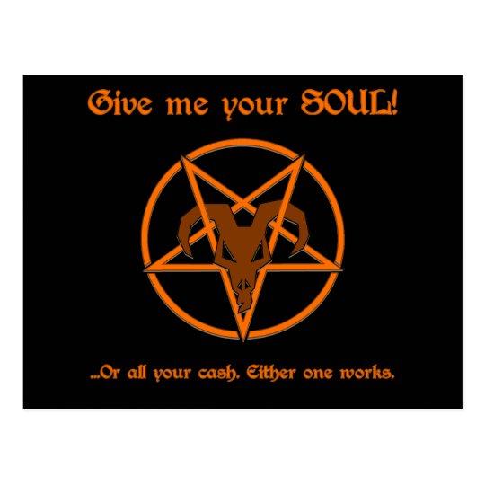 Your Soul Or Cash Satan Pentacle and Goat Humour Postcard