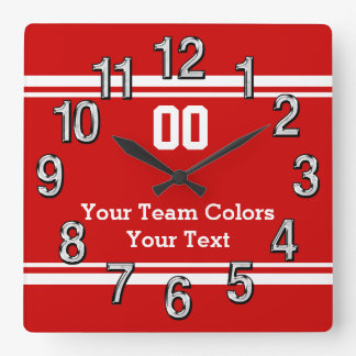 Your Team Colors and Text Sports Wall Clocks
