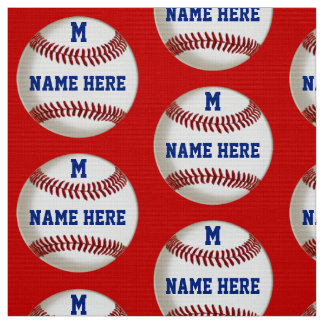 Your TEXT and COLORS on Baseball Themed Fabric