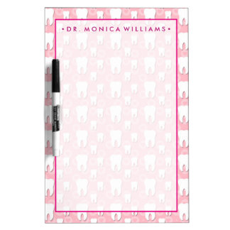 Your Text  | Cute Pink Teeth Dry Erase Board