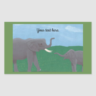 Your text, Elephant Stickers, Mother and Child Rectangular Sticker