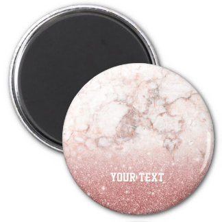 Your Text + Faux Rose Gold Glitter White Marble Magnet