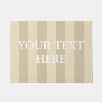 Your Text Here Beige Striped Doormat
