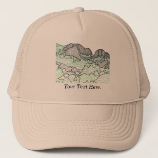 Your Text Mountains and Trees Line Drawing Hats