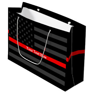 Your Text Personalized Thin Red Line Grey US Flag Large Gift Bag