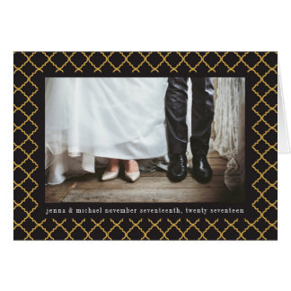 Your Text & Photo | Black & Gold Trefoil Pattern Card