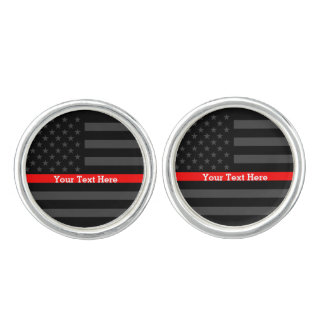 Your Text Thin Red Line Custom Grey US Flag Decor Cuff Links